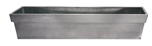 L60cm Zinc Edge Silver Trough Planter - By Primrose®