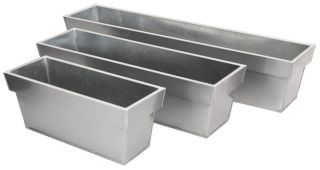 L80cm Zinc Edge Silver Trough Planters - By Primrose™