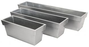 L60cm Zinc Edge Silver Trough Planter - By Primrose™