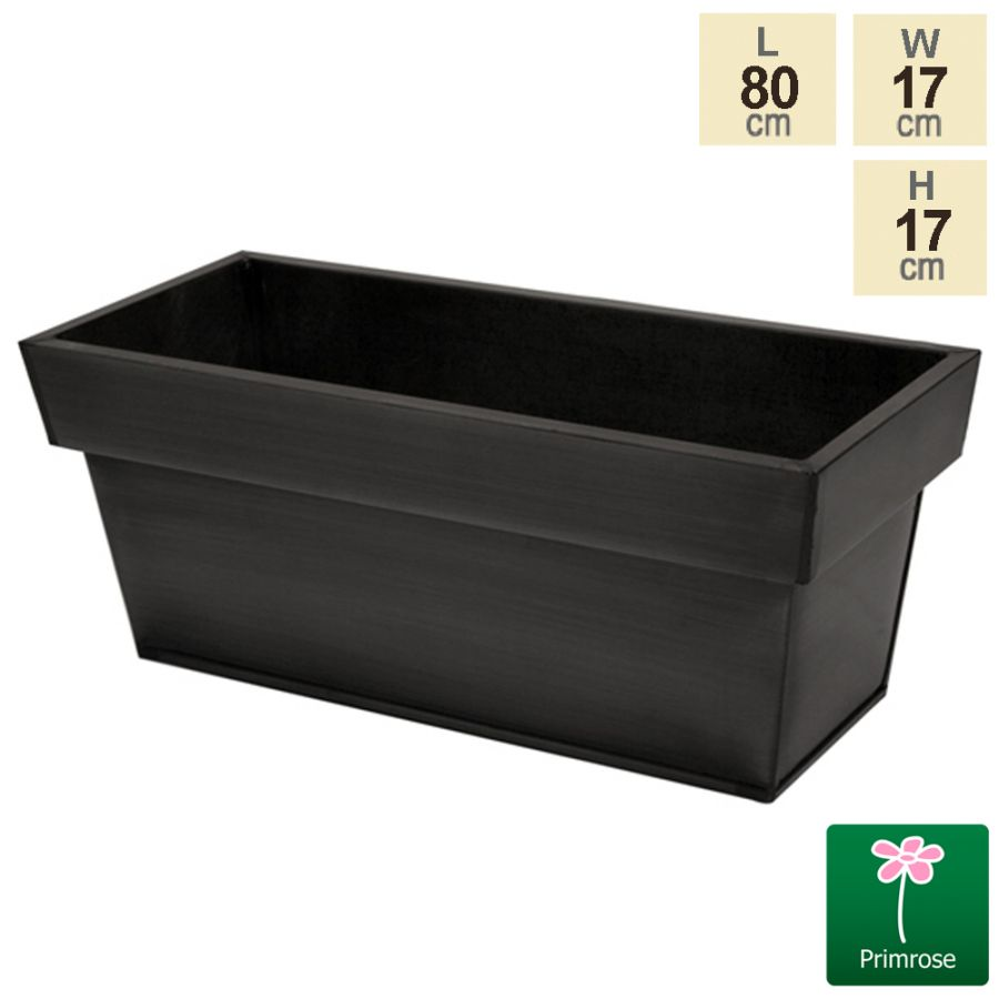 L80cm Zinc Edge Pewter Trough Planter - By Primrose™