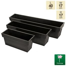 40cm Zinc Small Pewter Edge Trough Planter - By Primrose™