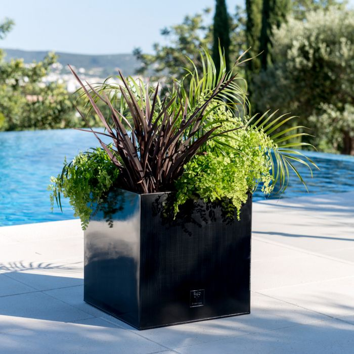 60cm Zinc Galvanised Silver Cube Planters - By Primrose™