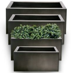 Set of L64cm, L70cm, L75cm & L1m Zinc Galvanised Pewter Trough Planters - By Primrose®
