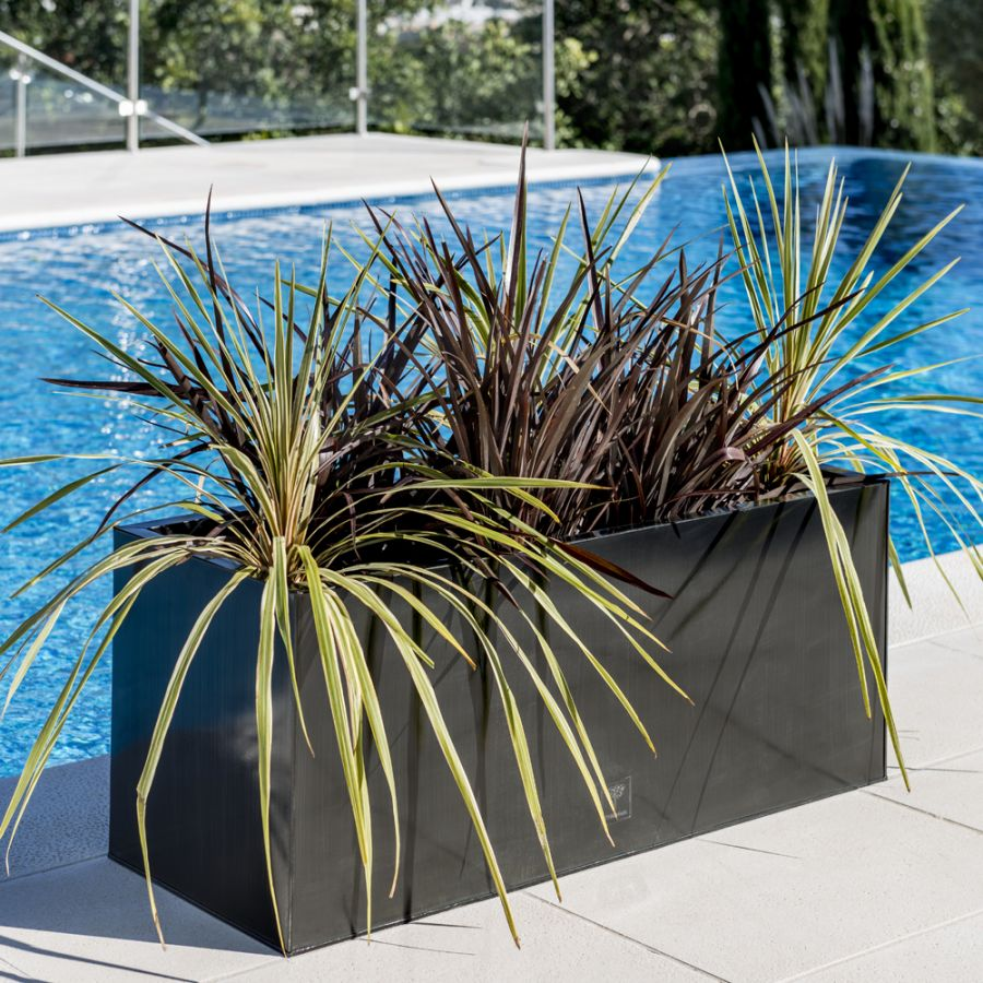 L1m Zinc Galvanised Pewter Trough Planters - By Primrose™