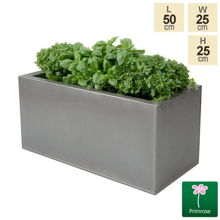 L50cm Zinc Silver Kitchen Herb Planter - By Primrose™