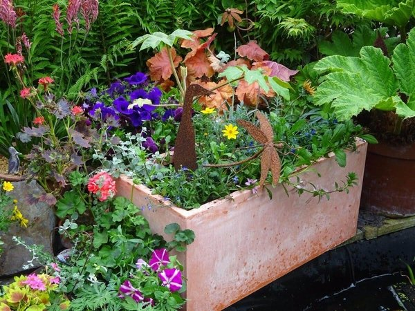50cm Terracotta Fibrecotta Trough Planter