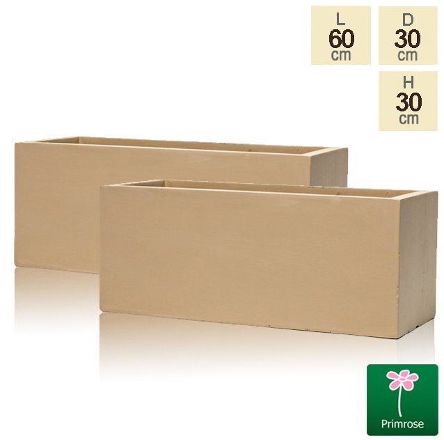 60cm Fibrecotta Sand Trough Planters - Set of 2