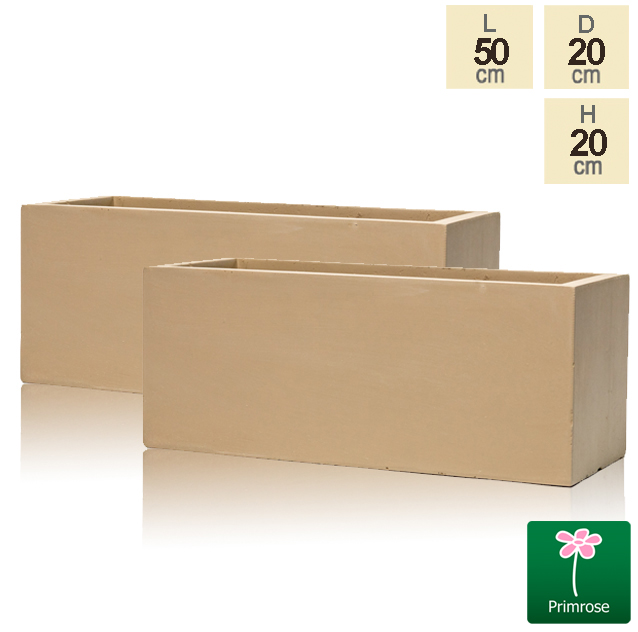 50cm Fibrecotta Sand Trough Planters - Set of 2