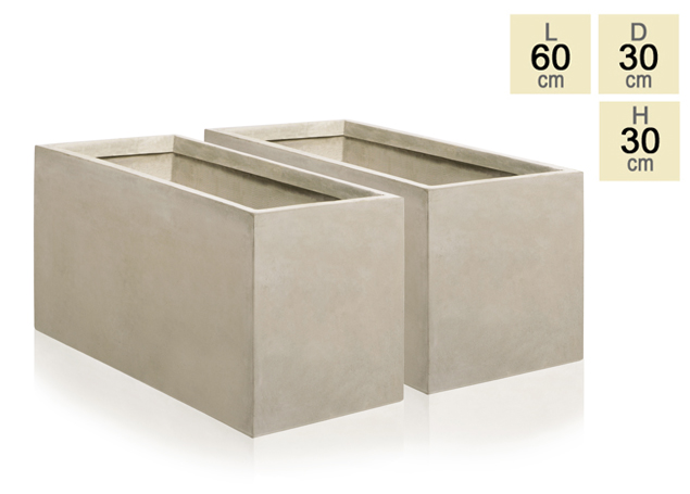 60cm Terracotta Fibrecotta Stone Trough Planters - Set of 2