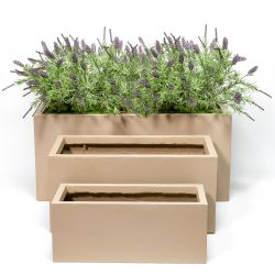 Sand Fibrecotta Trough Planters - Set of 3 - L50/L60/L80