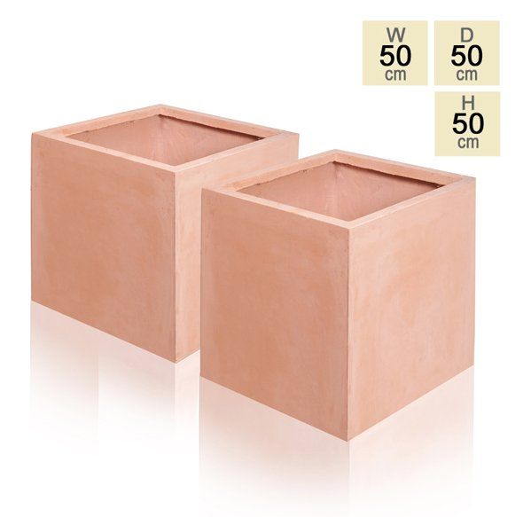 50cm Terracotta Fibrecotta Cube Planters - Set of 2