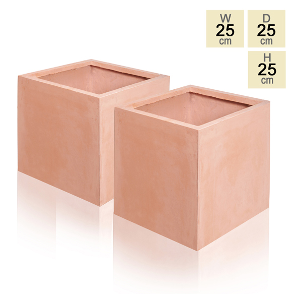25cm Terracotta Fibrecotta Cube Pot - Set of 2