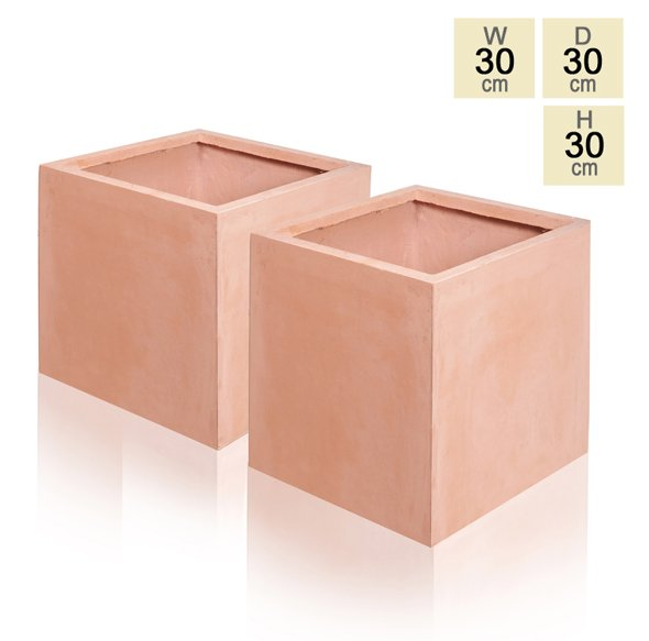 30cm Terracotta Fibrecotta Cube Pot - Set of 2
