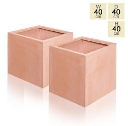 40cm Terracotta Fibrecotta Cube Planters - Set of 2