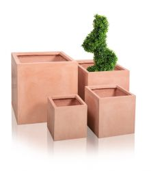 Terracotta Fibrecotta Cube Planters - Mixed Set of 4 - H25/30/40/50cm