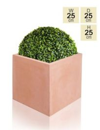 25cm Terracotta Fibrecotta Small Cube Planter