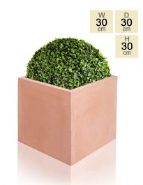 30cm Terracotta Fibrecotta Medium Cube Planter