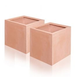 23cm Terracotta Fibrecotta Cube Pot - Set of 2