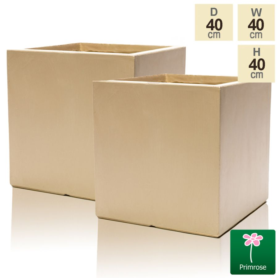 40cm Fibrecotta Sand Cube Planter - Set of 2