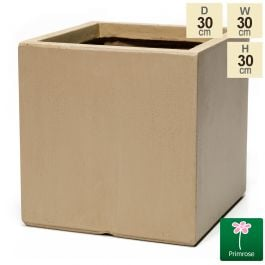 30cm Fibrecotta Medium Sand Cube Pot