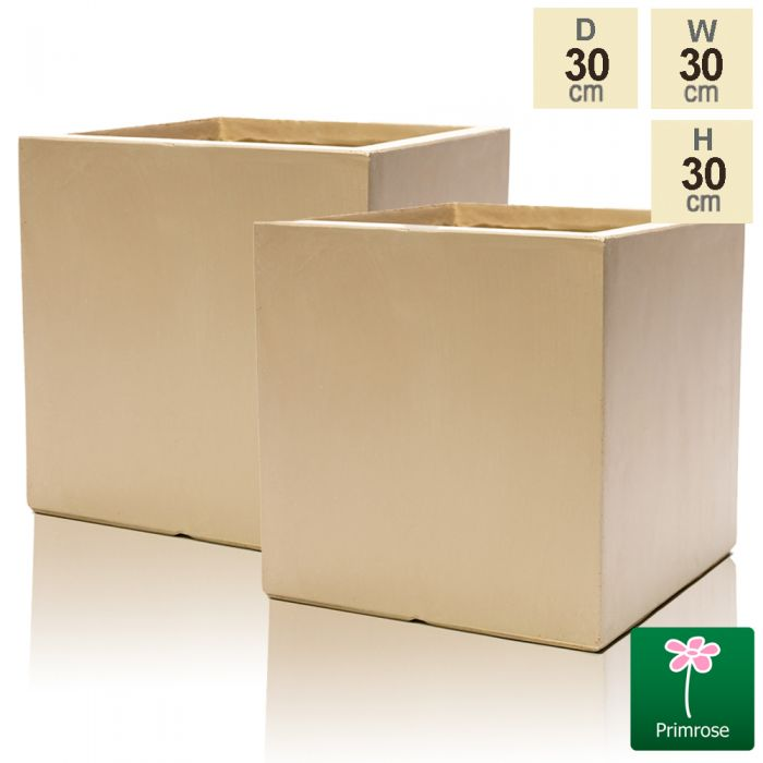 30cm Fibrecotta Sand Cube Pot - Set of 2