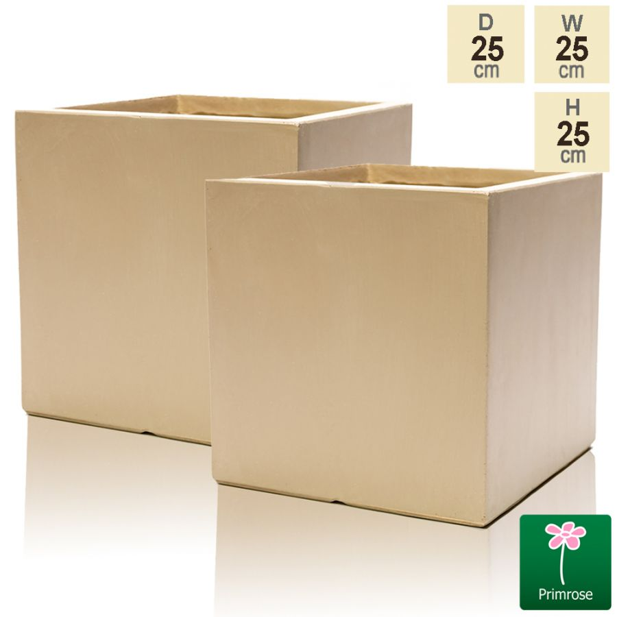 23cm Fibrecotta Sand Cube Pot - Set of 2