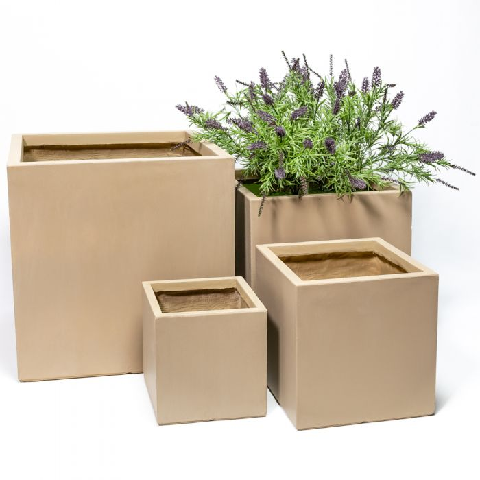 50cm Fibrecotta XL Sand Finish Cube Planter