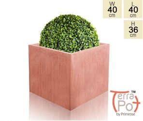 40cm Terracotta Fibrecotta Textured Large Cube Planter
