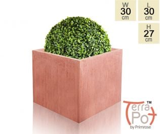 30cm Terracotta Fibrecotta Medium Textured Cube Planter