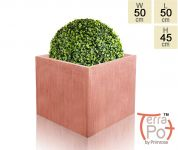 50cm Terracotta Fibrecotta Textured XL Cube Planter
