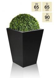 Polystone Tall Flared Square Planter - Black - Large  H90cm x 65cm
