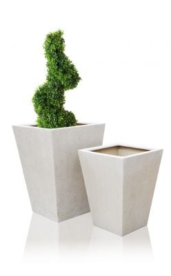 Poly-Terrazzo Tall Flared Square Planter - White - Large H90cm x 65cm