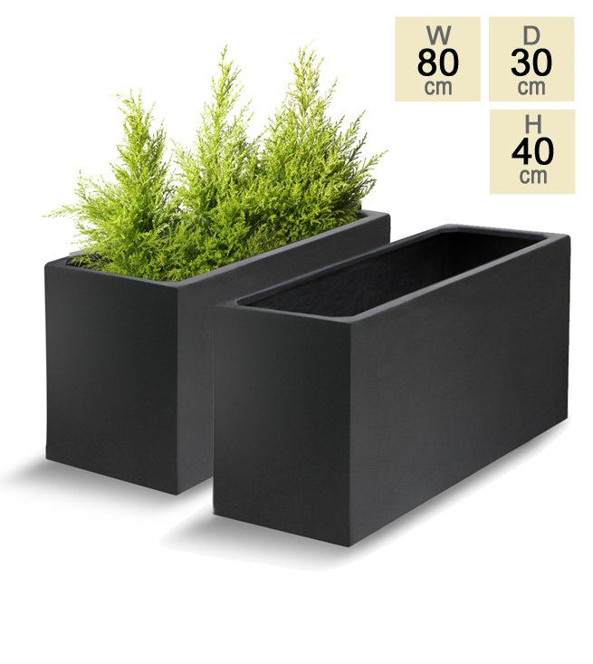 Large Corner L Shaped Wooden Garden Planter Box Trough: 80cm Polystone Black Trough Planter
