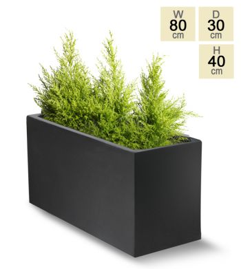 80cm Polystone Small Black Trough Planter