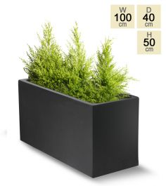100cm Polystone Large Black Trough Planter