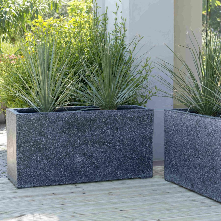 100cm Poly-Terrazzo Black Trough Planter - Set of 2