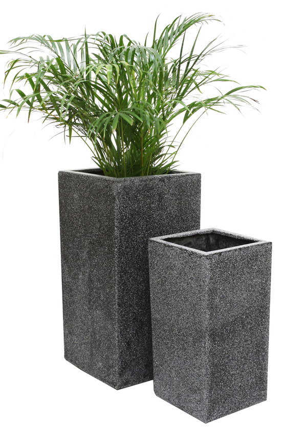 Black Poly-Terrazzo Tall Cube Planter - Small H60cm x 30cm - 48 Litre