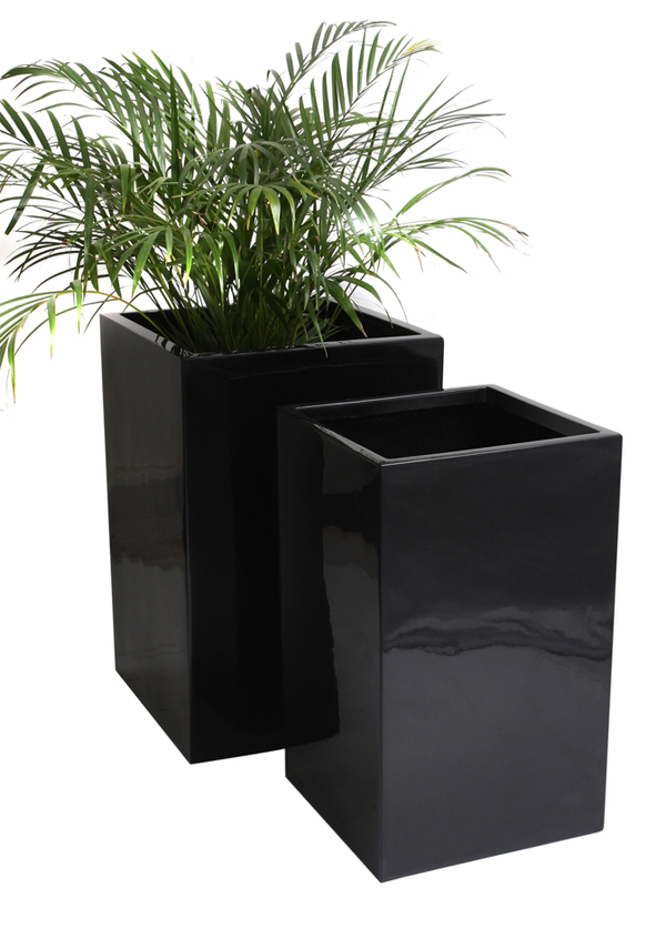 H75cm Tall Cube Fibreglass Gloss Planter In Black By