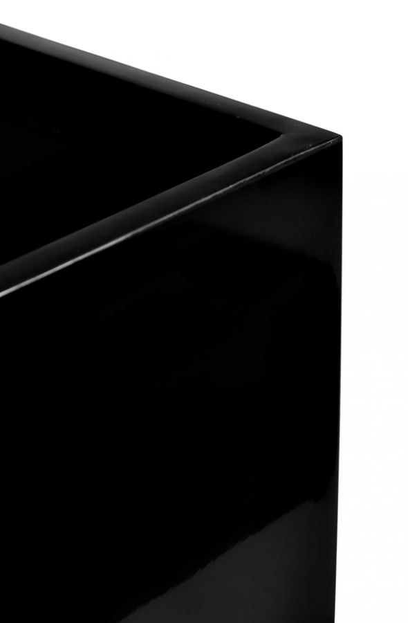 H68cm Tall Cube Fibreglass Gloss Planter in Black - By Primrose®