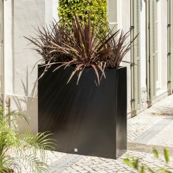 H90 x L90cm Tall Trough Fibreglass Planter in Matt Black - By Primrose™