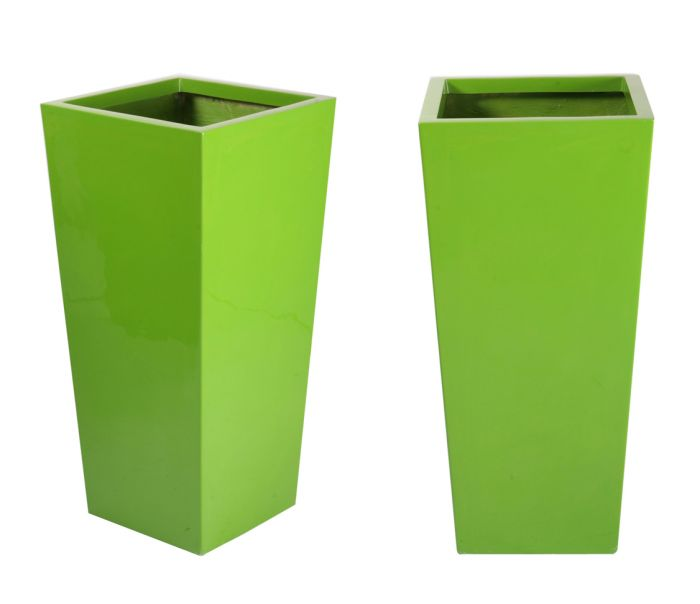 90cm x 43cm Fibreglass Flared Square Gloss Planter in Lime Green - By Primrose®