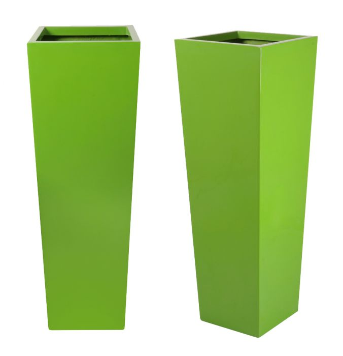 H1.20m Fibreglass Flared Square Gloss Planter in Lime Green - By Primrose®