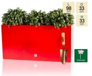 L98cm Gloss Fibreglass Trough Planter in Red - By Primrose®