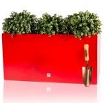 L80cm Gloss Fibreglass Trough Planter in Red - By Primrose®