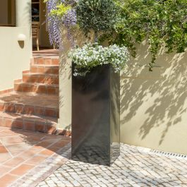 H1m Zinc Galvanised Platinum Tall Cube Planter - By Primrose™