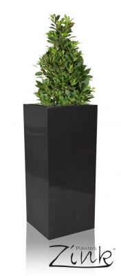 H75cm Zinc Galvanised Tall Platinum Cube Planter - By Zink�