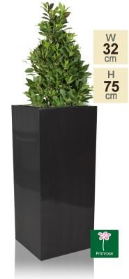 H75cm Zinc Galvanised Tall Platinum Cube Planter - By Primrose®
