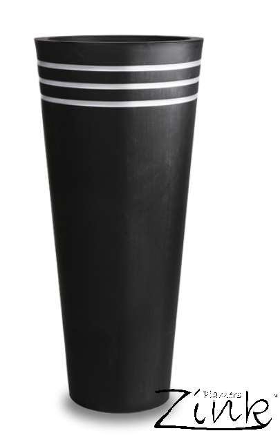 H90cm Tall Round Black Zinc Planter - By Primrose®