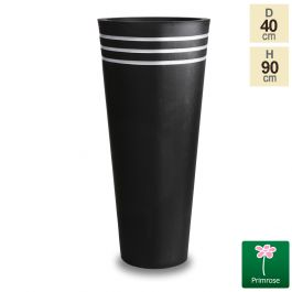 H90cm Tall Round Black Zinc Planter - By Primrose™