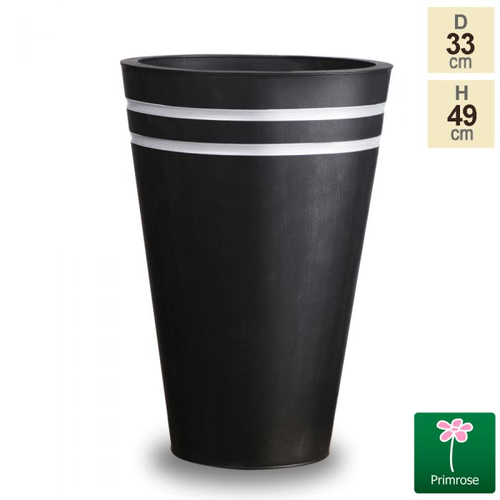 H49cm Tall Round Black Zinc Planter - By Primrose®